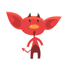 Shocked or surprised red devil character isolated vector