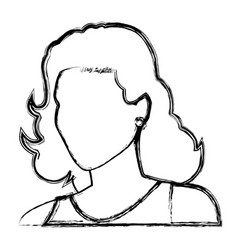 Sketch woman face comic hand drawn girl portrait vector
