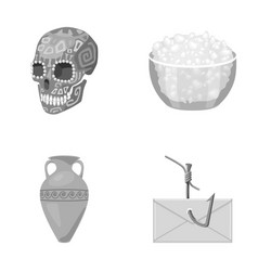 Skull bowl of cottage cheese and other monochrome vector