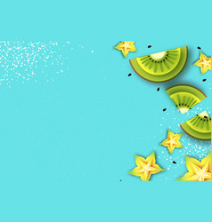 slice of kiwi and carambola top view kiwi and vector image