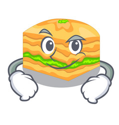 Smirking cartoon baklava on the wooden boards vector