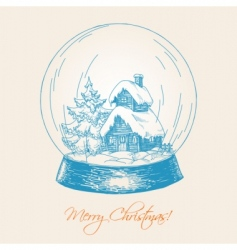 snow globe sketch vector image