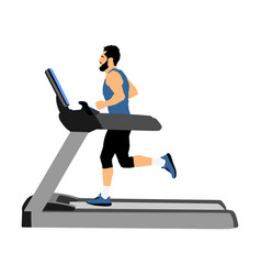 Sport man running on a treadmill in gym cardio vector