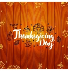 Thanksgiving Day with Wooden Board vector