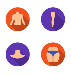 Torso leg neck and buttocks body parts set vector