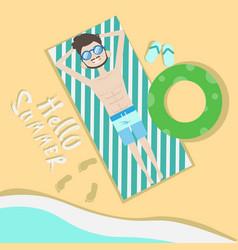Tourist man lying on beach top angle view hello vector