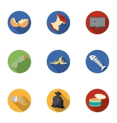 Trash and garbage set icons in flat style Big vector image