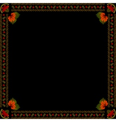 Ukrainian national floral ornament on dark backgro vector image