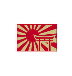 Vintage retro japanese rising sun with torii gate vector