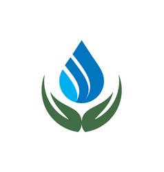 water leaf abstract hand logo icon vector image