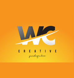 wc w c letter modern logo design with yellow vector image