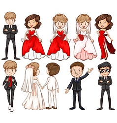 Wedding couples in different costumes vector