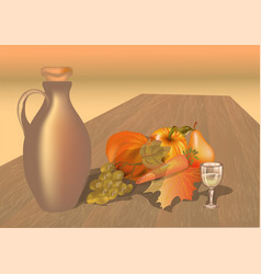 autumn table with fruits vector image