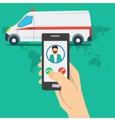 Call to doctor - hand with phone vector image