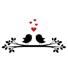 cute birds sing and red hearts vector image