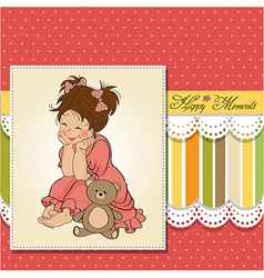 little baby girl play with her teddy bear toy vector image vector image