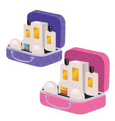 pink and purple suitcases with perfume and vector image vector image