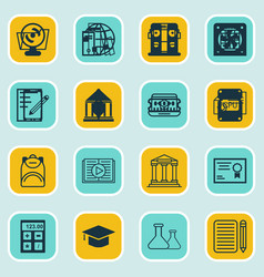 set of 16 school icons includes home work vector image vector image