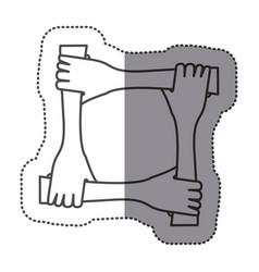 sticker silhouette hands teamwork icon vector image