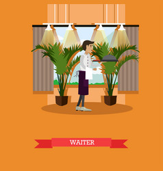 waiter serving dish in flat vector image
