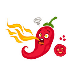 cartoon red chili for mexican food vector image vector image