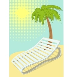 Sunbed under palm tree on tropical beach vector image vector image