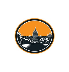 United States Capitol Building Woodcut Retro vector image vector image