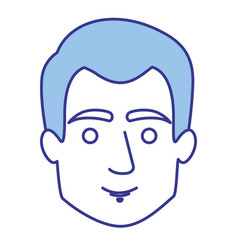 blue silhouette of guy with short hair vector image