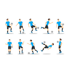 cartoon football players icon set vector image vector image