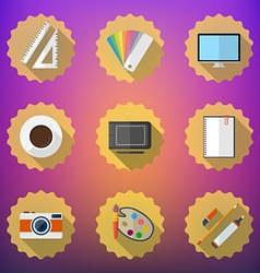 Designers stuff Flat icon set include Desktop vector image