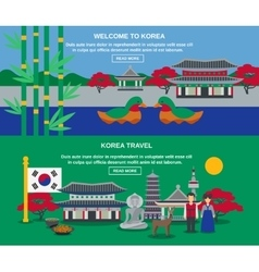 Korean Culture Travel Horizontal Banners Set vector image vector image