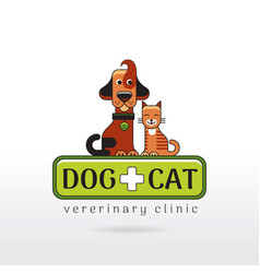 linear of funny dog and cat on vector image