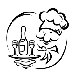 Waiter with tray and champagne vector image