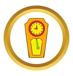 Yellow grandfather clock icon vector image