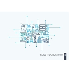 Construction integrated thin line symbols vector image