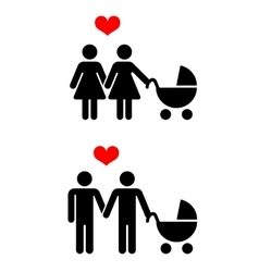 gay family with children icons over white vector image vector image