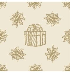 poinsettia christmas gift box flower pattern vector image vector image