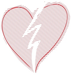 Red broken heart vector image