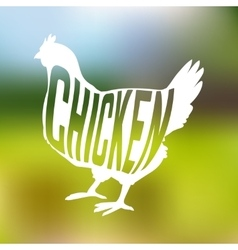 Silhouette of farm Hen black with text inside on vector image vector image