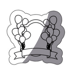 sticker silhouette balloons party with heraldic vector image