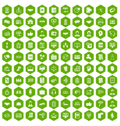 100 discussion icons hexagon green vector