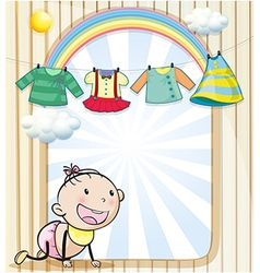 A baby girl with hanging clothes vector image