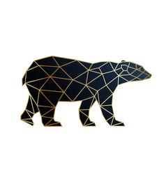 Abstract gold geometric bear design polar bear vector