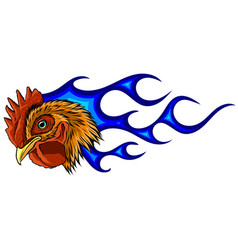 angry rooster with flames vector image
