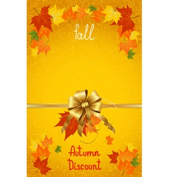 Autumn fall discount on yellow vector