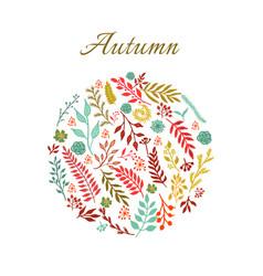 Autumn round floral pattern vector