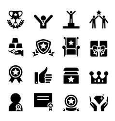 Award icon set vector
