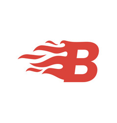 B letter fire flame hot uppercase logo icon vector