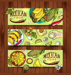 Banners with mexican food vector