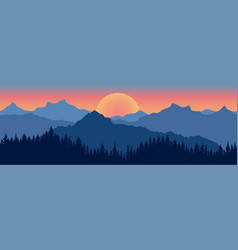 Beautiful landscape silhouette dark blue vector